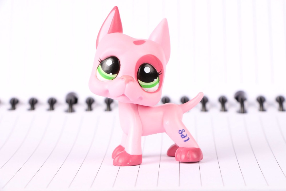 New Pet Collection Figure LPS #2598 Great Dane Pink Green Eyes Dog Kids Toys pet shop toys dachshund 932 bronw sausage dog star pink eyes