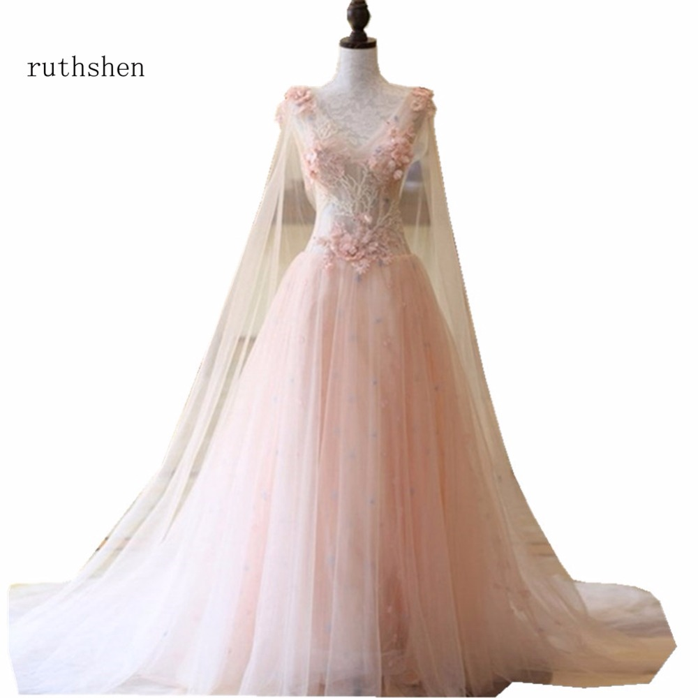 ruthshen Long Pink   Prom     Dresses   2018 Sexy V Neck Beaded Appliques Sexy Illusion Formal A Line Party   Dress   Cheap Graduation   Dress