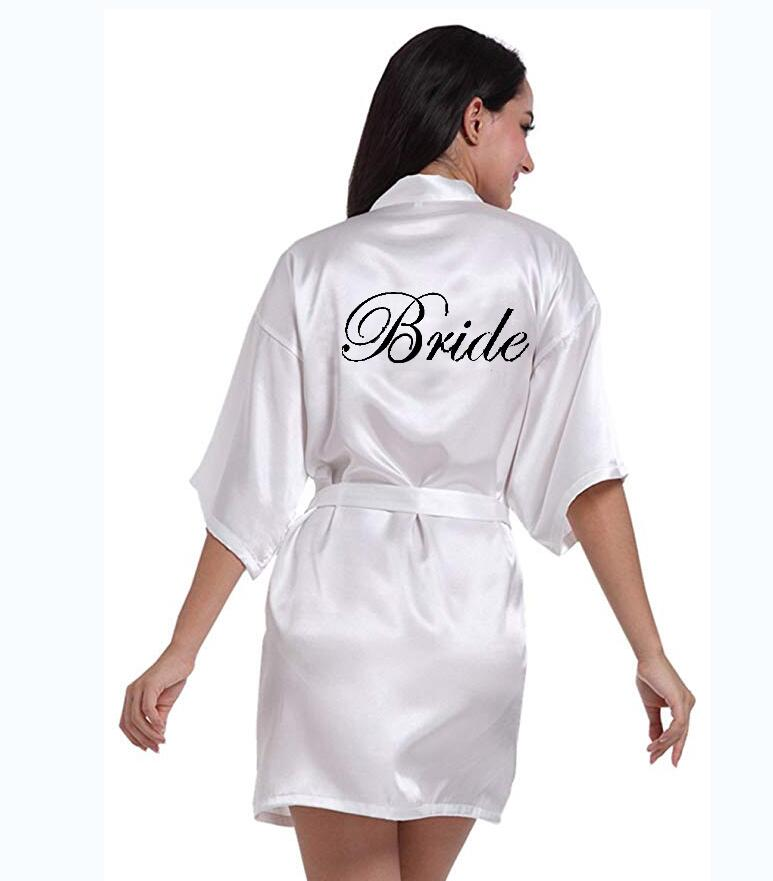 New Bride Bridesmaid Robe With White Black Letters Mother Sister Of The Bride Wedding Gift Bathrobe Kimono Satin Robe