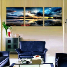 Free Shipping 3 Panels Living Room Decorative On Canvas Painting Modern Huge Picture Paint  Art Handmade Beach Sunset Paintings