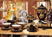 European style Ceramic Coffee Set 15 Pieces Black Tea set Bone China Cups and Saucers