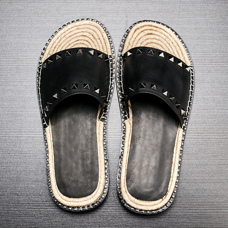 Summer leather slippers Mens daily slip proof leisure straw sandals Men 39 s breathable riveted beach shoes one word slippers male in Slippers from Shoes