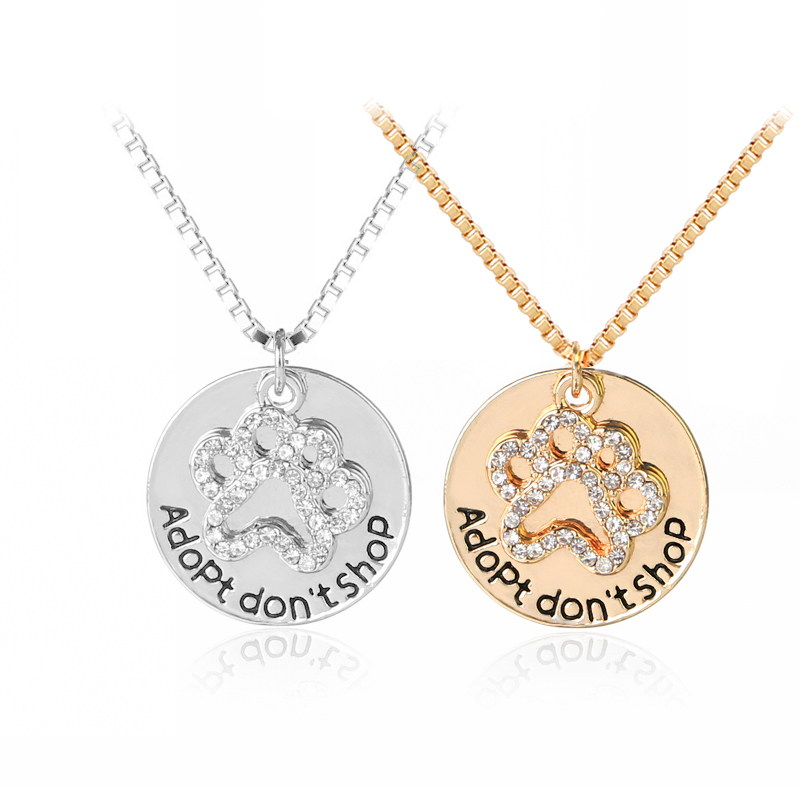 adopt dont shop Necklaces Hollow full rhinestone Pet Paw Prints necklace dog cat Jewelry ...