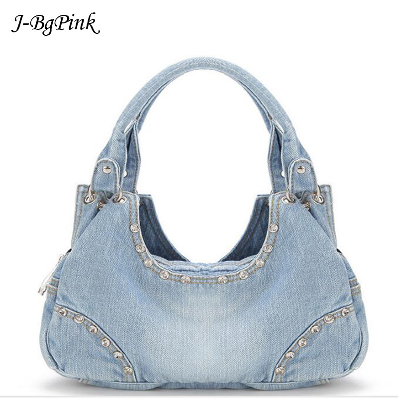 Fashion Women Denim Bag 2018 Women Tote Bags Diamond Rivet Jeans Women's High quality Handbags Women's Shoulder Bag fashion Tote