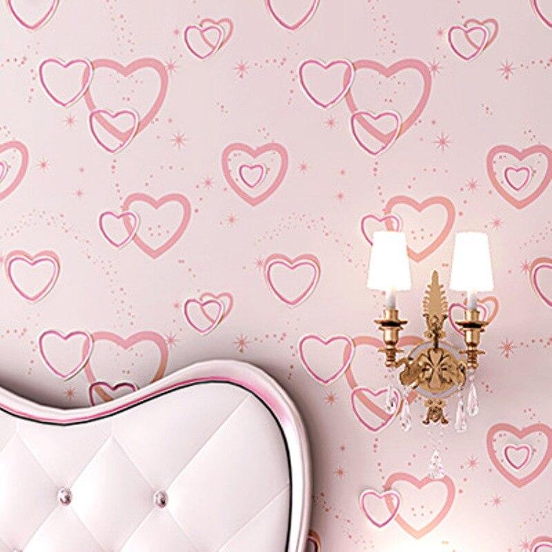 Enfants chambre décoration papier peint rose/violet coeur forme revêtement mural décoration papier peint & papier peint papel de parede