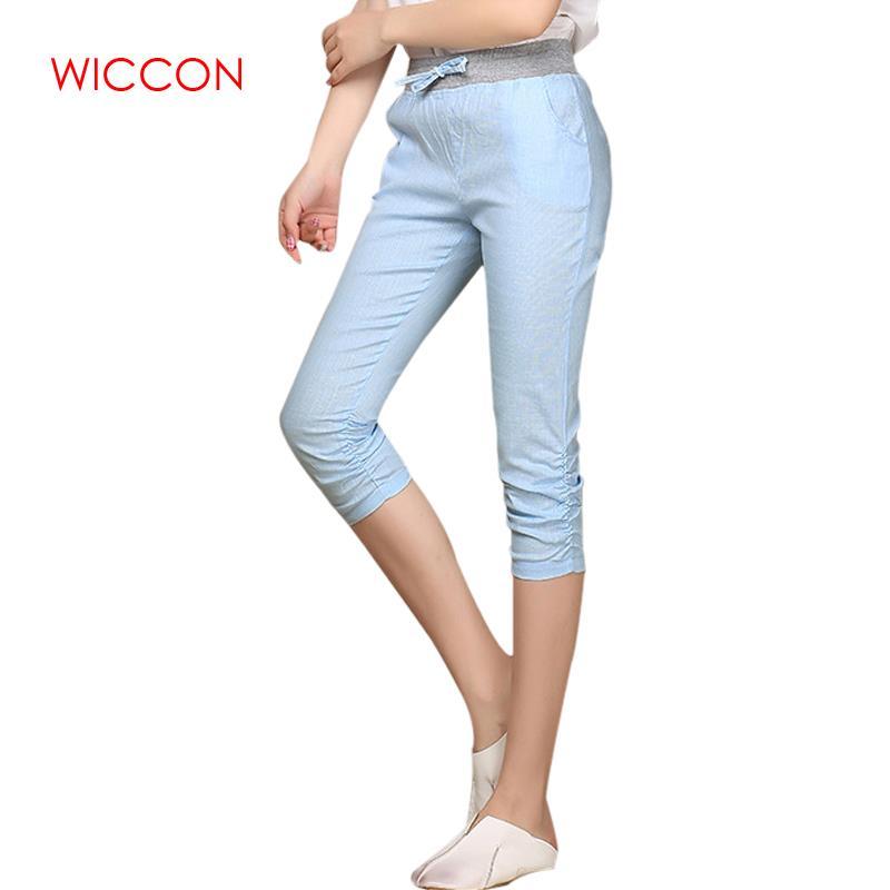 Plus Size 2019 Linen Comfortable Pants Summer Women Calf Length Cotton Pants Colorful Casual Elastic Waist Pants Capris Trousers