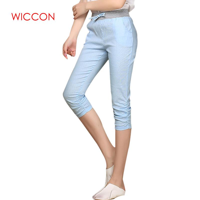 Plus Size 2019 Linen Comfortable   Pants   Summer Women Calf Length Cotton   Pants   Colorful Casual Elastic Waist   Pants     Capris   Trousers