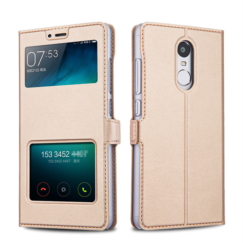 wholesale dealer 59cfc 720ac US $8.99 |Xiaomi Redmi Note 4 Pro Case Leather Flip Cover Luxury Protector  Capa Coque Note4 Double Window Couro Mobile Phone Bag Cases -in Flip Cases  ...