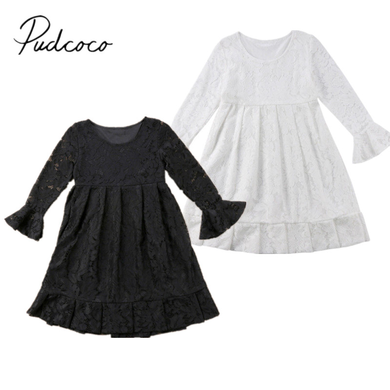2018 Brand New Child Kids Baby Girl Princess Lace Wedding Ball Gown Party Solid Formal Dress Flare Long Sleeve Sundress 3-12T 2017 new summer children girl long sleeve lace dress kids clothes cotton child party princess tank girl dress sundress age 2 10y