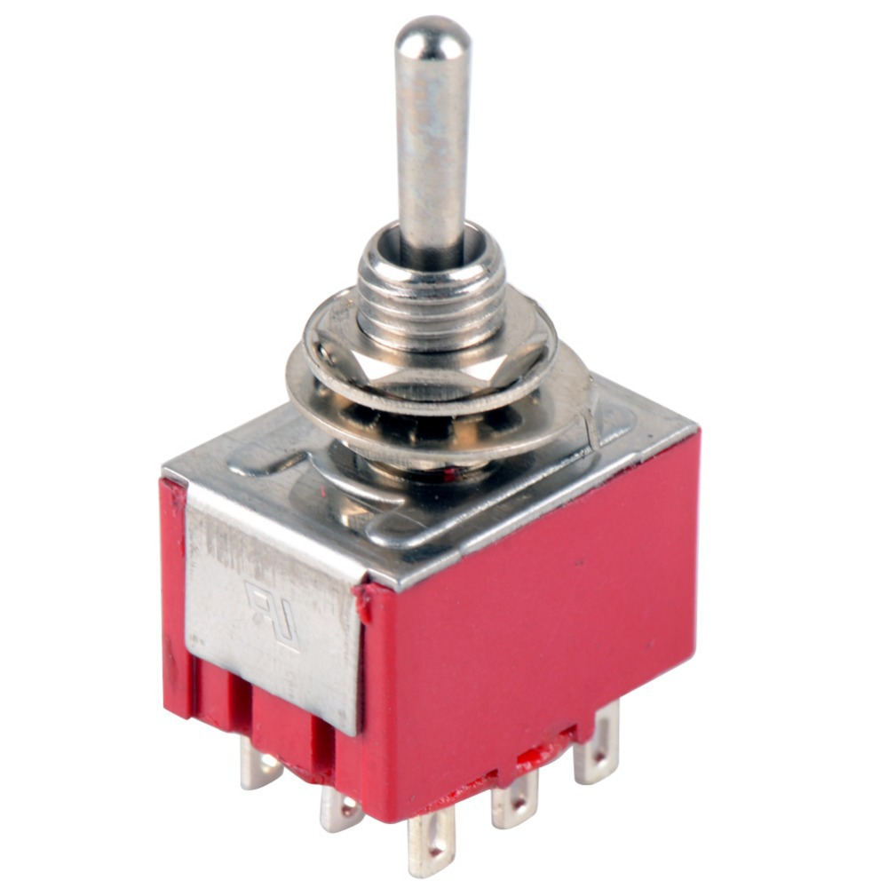 1 STÜCK NEUE Red <font><b>9</b></font> <font><b>Pin</b></font> ON-OFF-ON 3 Position Mini-kippschalter AC 6A/125 V 3A/250 V VE521 P image