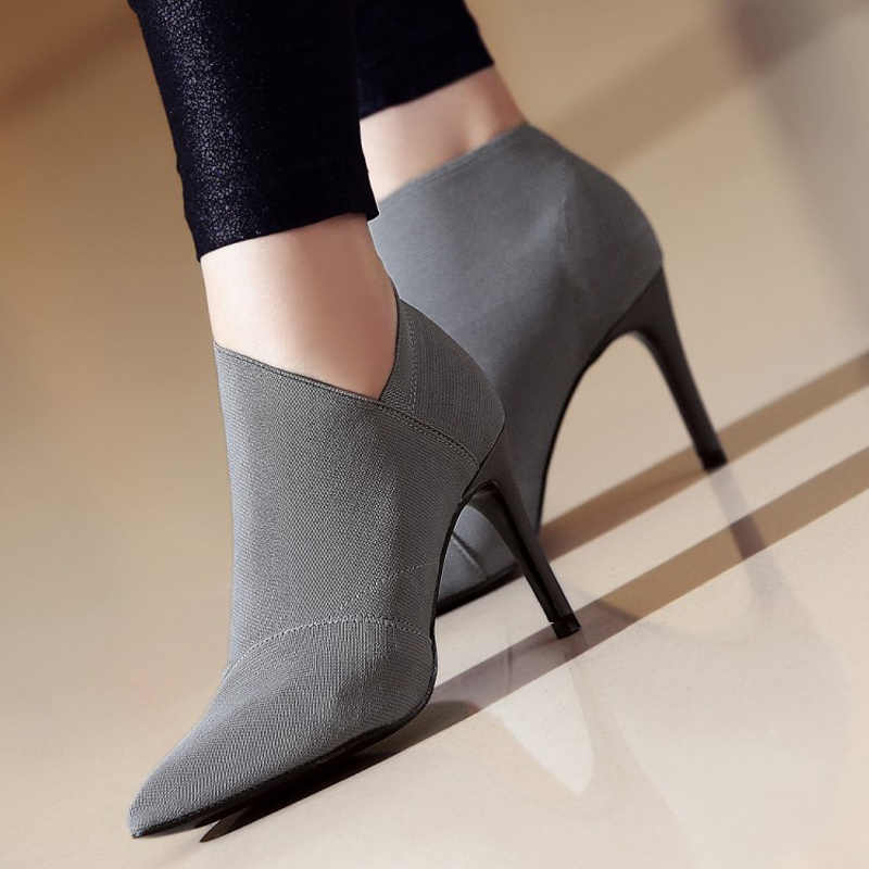 ผู้หญิงสูงส้นขนาดใหญ่ Size34-41Fashion หญิงรองเท้าส้นสูงรองเท้าสุภาพสตรีรองเท้าแฟชั่น 8.5 ซม.ส้นรองเท้าผ้า l33