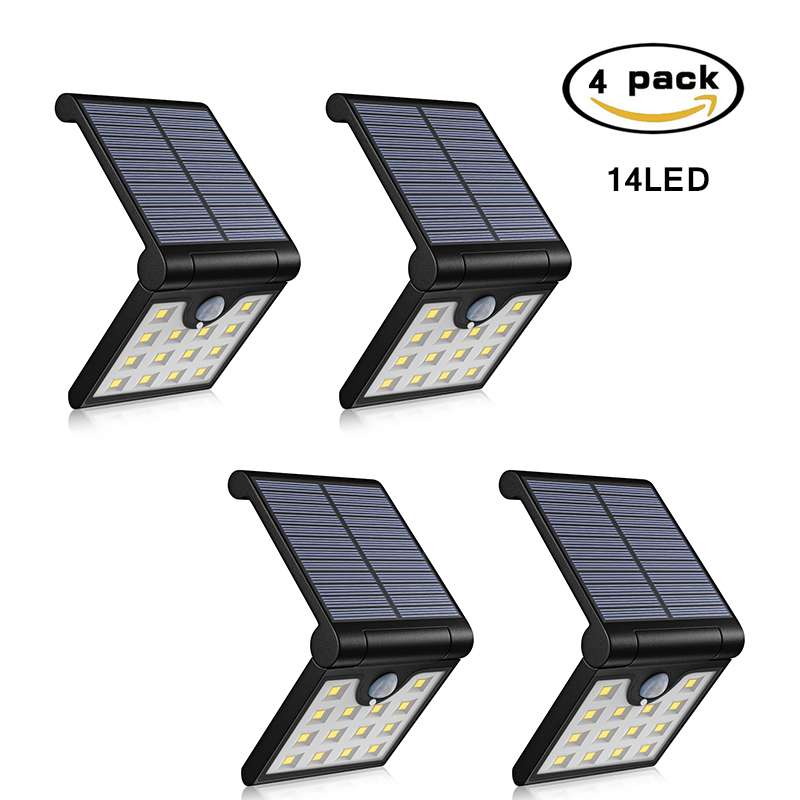 Solar Led Light Outdoor Garden 14LED Folding Solar Powered Wall Lights Waterproof PIR Motion Senser Night Lighting ALUVEE