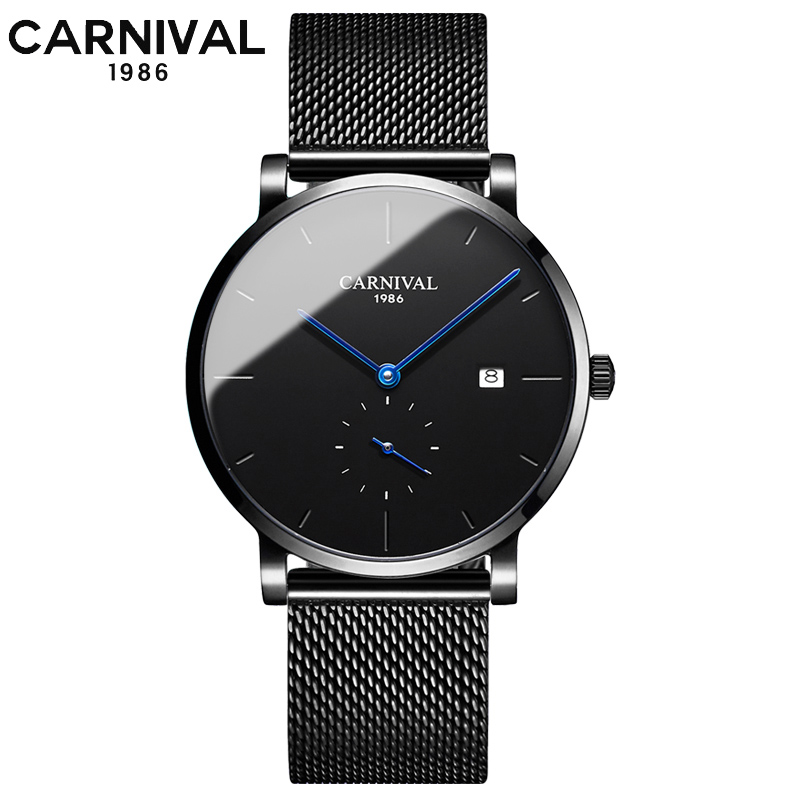 Sports fashion mechanical watch CARNIVAL 2019 automatic watch men's small seconds 24 hour dial sapphire Montre homme-in Mechanical Watches from Watches    1