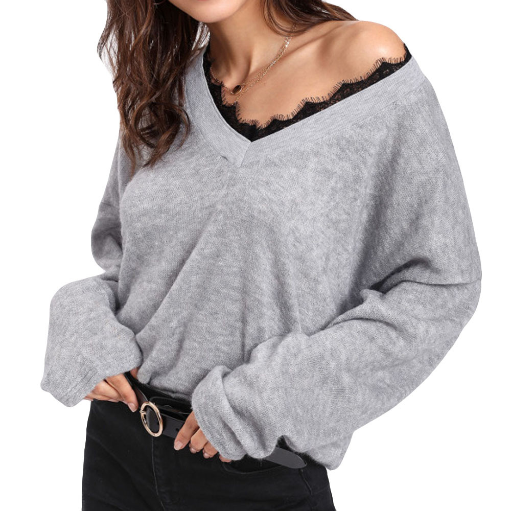2019 V Neck Solid Women Sweaters Women V-Neck Long Sleeve Lace Knitted Pullover Loose Sweater Jumper Tops