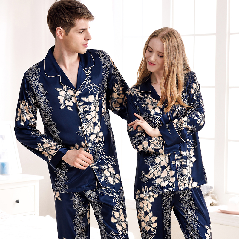 xifenni Brand Couple   Pajamas   2019 Autumn NEW Three-Piece Women   Pajama     Sets   With Breast Pad Sexy Satin Silk Men Pyjama Pants   Set
