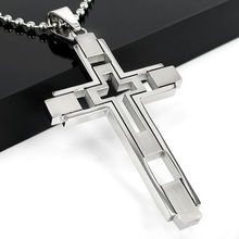Unisex Silver Stainless Steel Cross Pendant Necklace