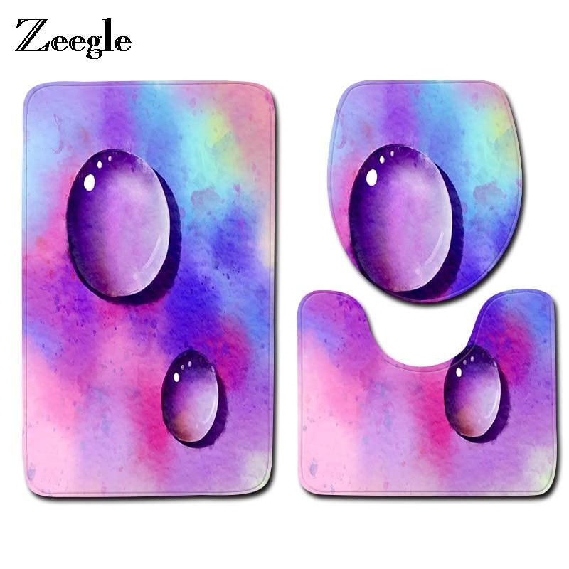 Zeegle Creative Bathroom Non-Slip Style Pedestal Rug Lid Toilet Cover Bath Mat Gifts Sets Bath Pad Home Decor Bath Mats