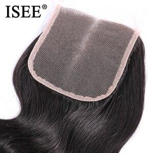 Image 5 - Перуанские волнистые волосы ISEE, 100% человеческие волосы Remy на шнуровке средней длины, 4*4, бесплатная доставка, натуральный цвет