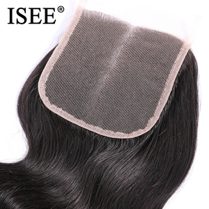 Image 5 - ISEE HAIR Peruvian Body Wave Closure 100% Remy Human Hair Lace Closure Middle Part Hand Tied  4*4 Free Shipping Nature Color