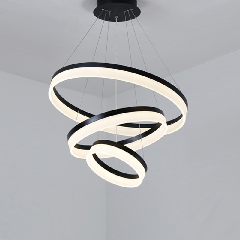 Modern LED Pendant Lights Fixtures For Living Dining Room Decor Rings Suspension Bedroom Lustre Circle Hanging Lamp With Remote