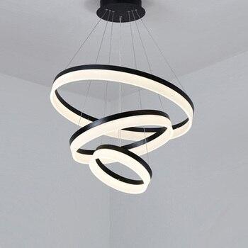 цена Modern LED Pendant Lights Fixtures For Living Dining Room Decor Rings Suspension Bedroom Lustre Circle Hanging Lamp With Remote онлайн в 2017 году