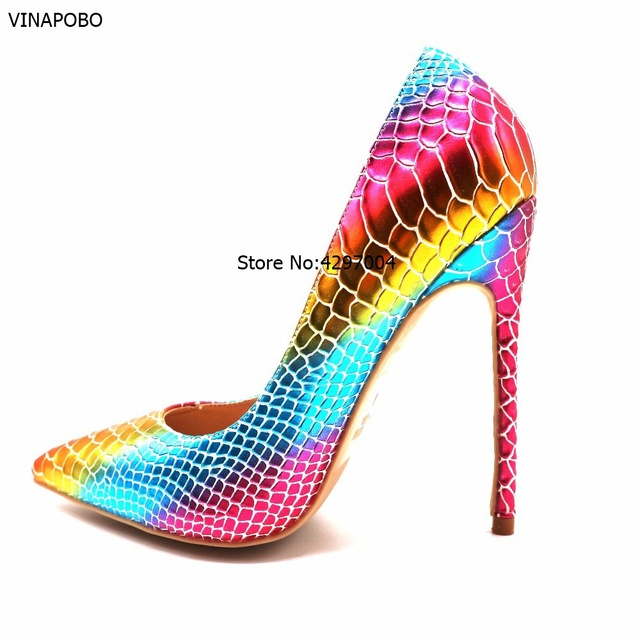 fe7b17363319 New Arrival Sexy Rainbow Snake Skin Shallow Women's Party Shoes Mixed  Colors PU Leather Pointed Toe High Heels Shoes Women Pumps