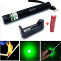 Mini High Power Green Laser Flashlight Laser 303 Lazer Laser Pointer  with Free 2 Safe Key+18650 Battery+18650 EU Plug Charger