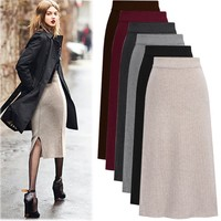 2018 autumn winter skirts womens solid color elastic high waist back vent skirts Knitting midi skirt plus size office work M 6XL