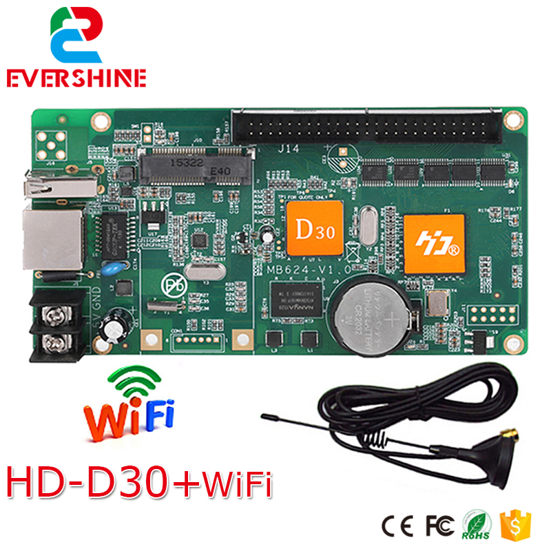 D30 HD-D30 RGB full color 256 gray scale LED display screen controller card supports WIFI,U-disk,Network ,1024*64 pixels bx 6q3 usb and ethernet port lintel full color led control card asynchronous video led sign controller 384 1024 512 768pixels