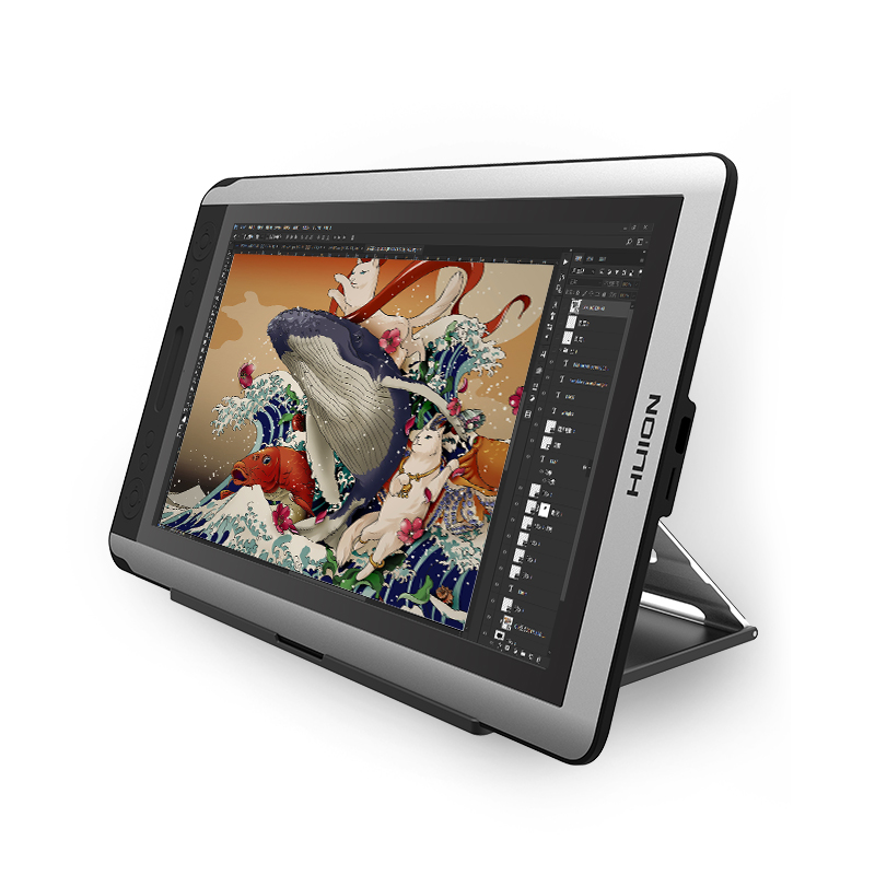 HUION KAMVAS GT-156HD V2 Disegno Grafica Monitor Pen Display Digitale da 15.6 pollici Monitor con tasti di Scelta Rapida e Supporto Regolabile