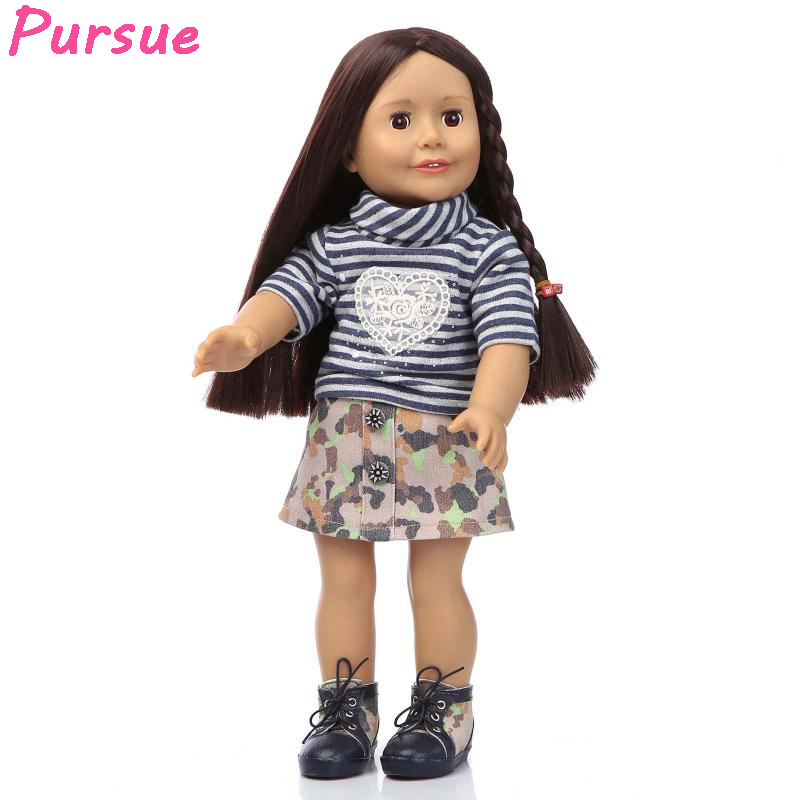 Pursue Long Black Hair American Girl BJD Doll Plastic Reborn Baby Alive Baby Doll Toys for Baby Girls Children bebes reborns 18 npk collection handmade bjd doll 18 inch girl doll include clothes shoes plastic baby princess doll plaything toy for children