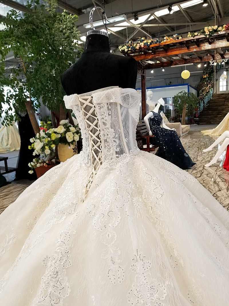 LS96565 свадебное платье с кружевом с плеча элегантный свадебные платья возлюбленной сексуальный длинный поезд красоты свадебное платье с бисером и блестки
