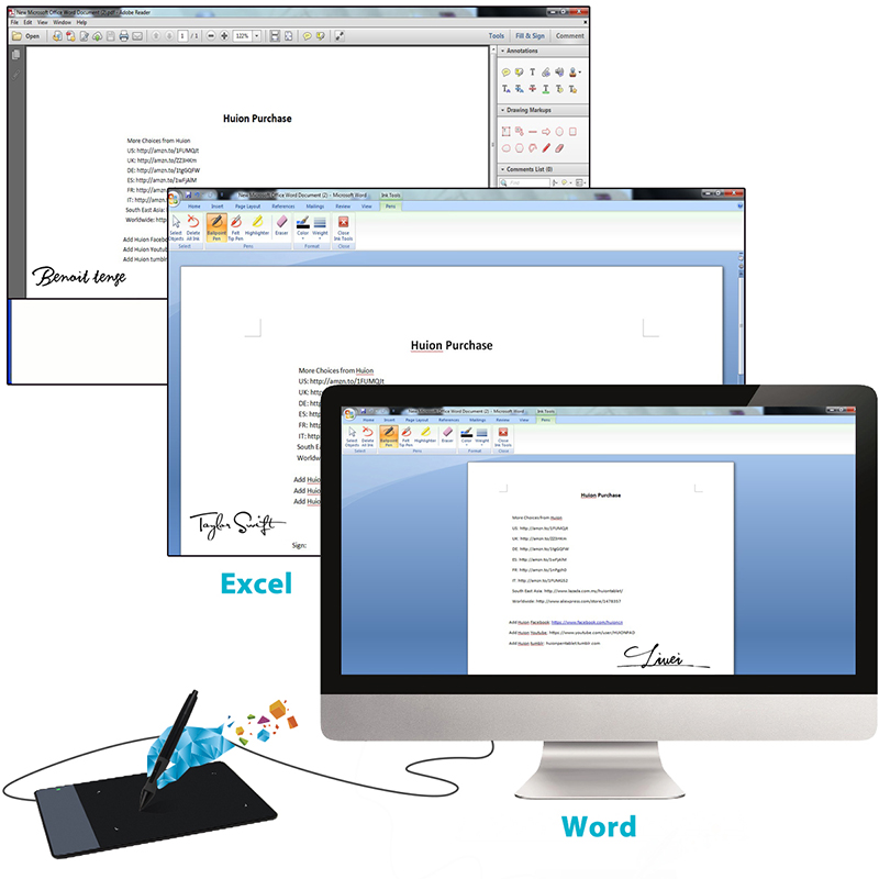 Original HUION 420 4-Inch Digital Tablets Mini USB Signature Pen Tablet Graphics (Black)