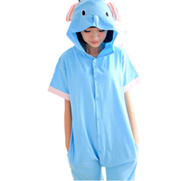 Cartoon Anime Blue Elephant Cosplay Costume Onesie Summer Jumpsuit Short Sleeve Animal Circus Elephant Pajamas Onesie