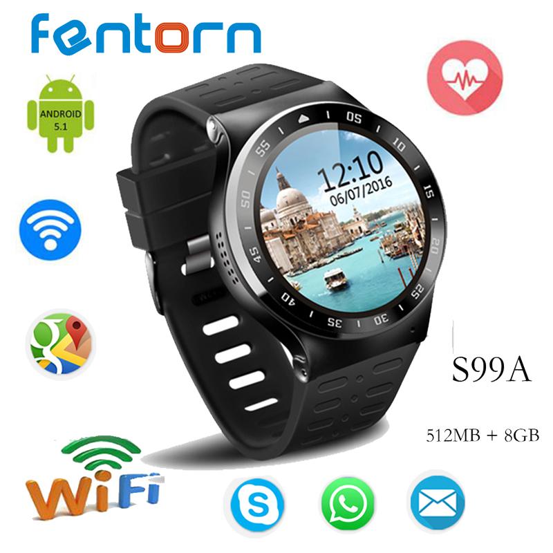 Prix pour 2017 meilleur montre s99a android 5.1 os smart watch avec 5.0 hd caméra 3g wifi smartwatch soutien nano sim carte google voix remise en forme