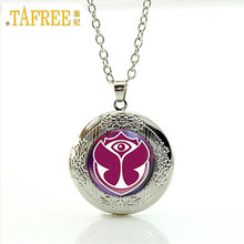 Summer style Electronic Music Festival Tomorrowland locket Necklace for music lover Glass locket pendant silver necklace WNK205(China)