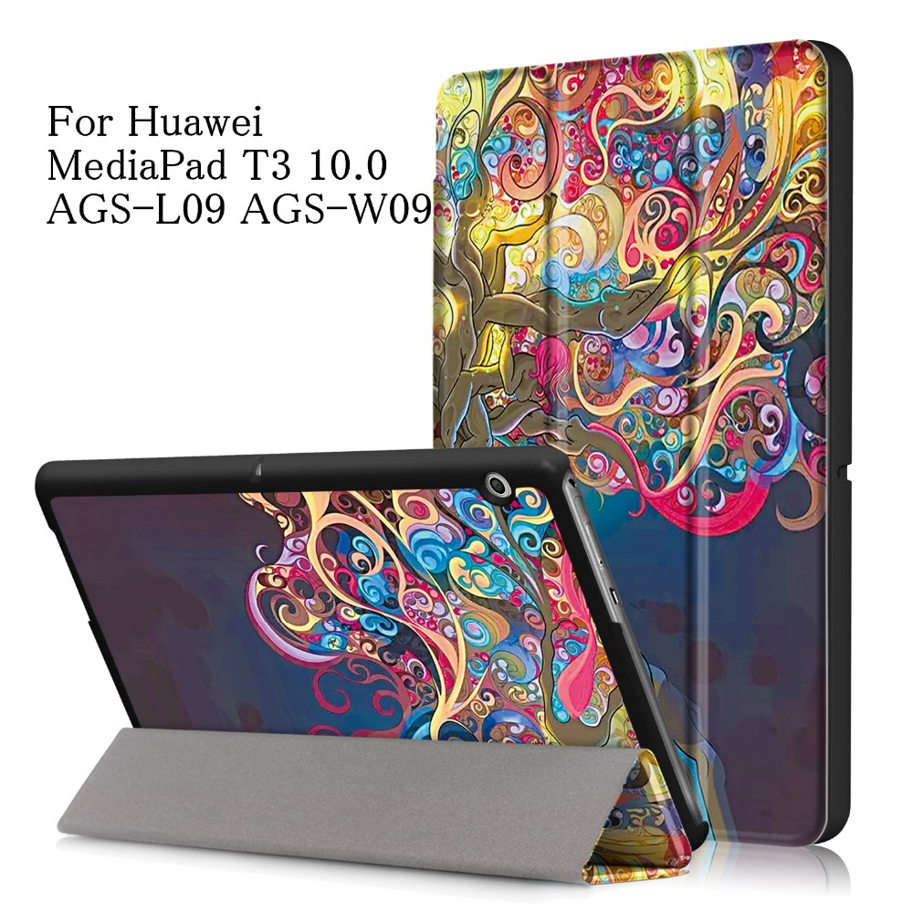 Cute Printings PU Leather Cover Case for Huawei MediaPad T3 10 AGS-W09 AGS-L09 T3 9.6 Tablet Cover for Huawei Honor Play Pad 2 folio slim cover case for huawei mediapad t3 7 0 bg2 w09 tablet for honor play pad 2 7 0 protective cover skin free gift