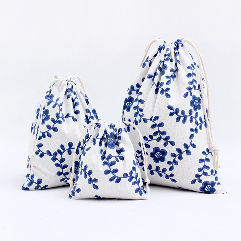 YILE Natural Cotton Linen Travelling Clothing Sorted Pouch String Closure Gift Tea Jewellery Bag Blue Flower N257