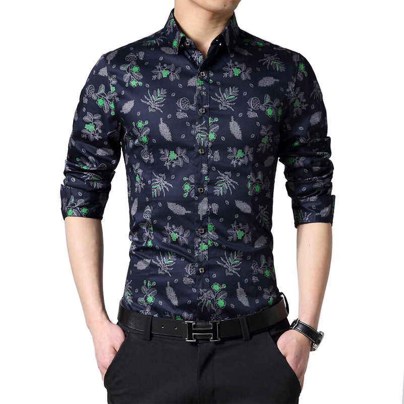 2016new brand luxury men shirt cotton long sleeve men for In style mens shirts
