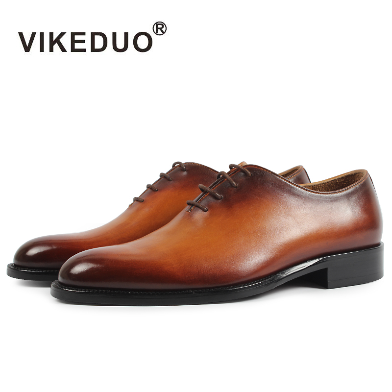 VIKEDUO 2019 nueva marca hombres Oxford Zapatos de Hombre de cuero genuino zapato hecho a mano calzado boda Oficina Formal Patina Zapatos Hombre