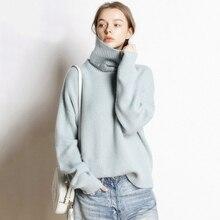 Cuello alto suéter de cachemira de punto invierno femenino Casual Streetwear  Pullovers suéteres flojos calientes moda 7af473049b05