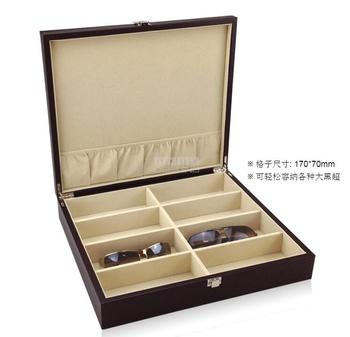 luxurious  wooden structure leather 8 grid sunglasses box wood box storage organizer for make up storage YJ016