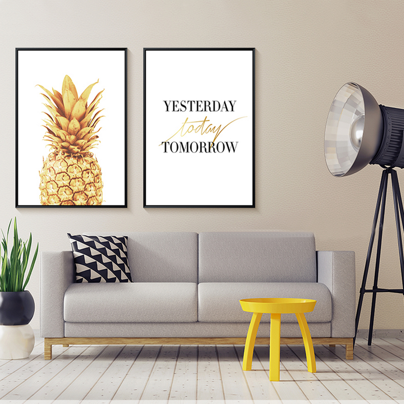 NEW Nordic Minimalist Gold Pineapple Canvas Gold Wall Art