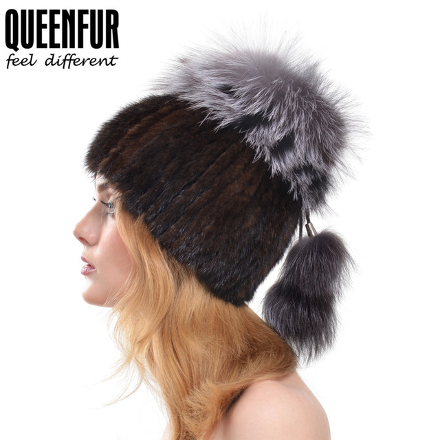 QUEENFUR Winter Women Genuine Mink Fur Skullies With Silver Fox Fur Pom Poms Top Beanies 2016 New Warm Fur Elastic Fur Cap