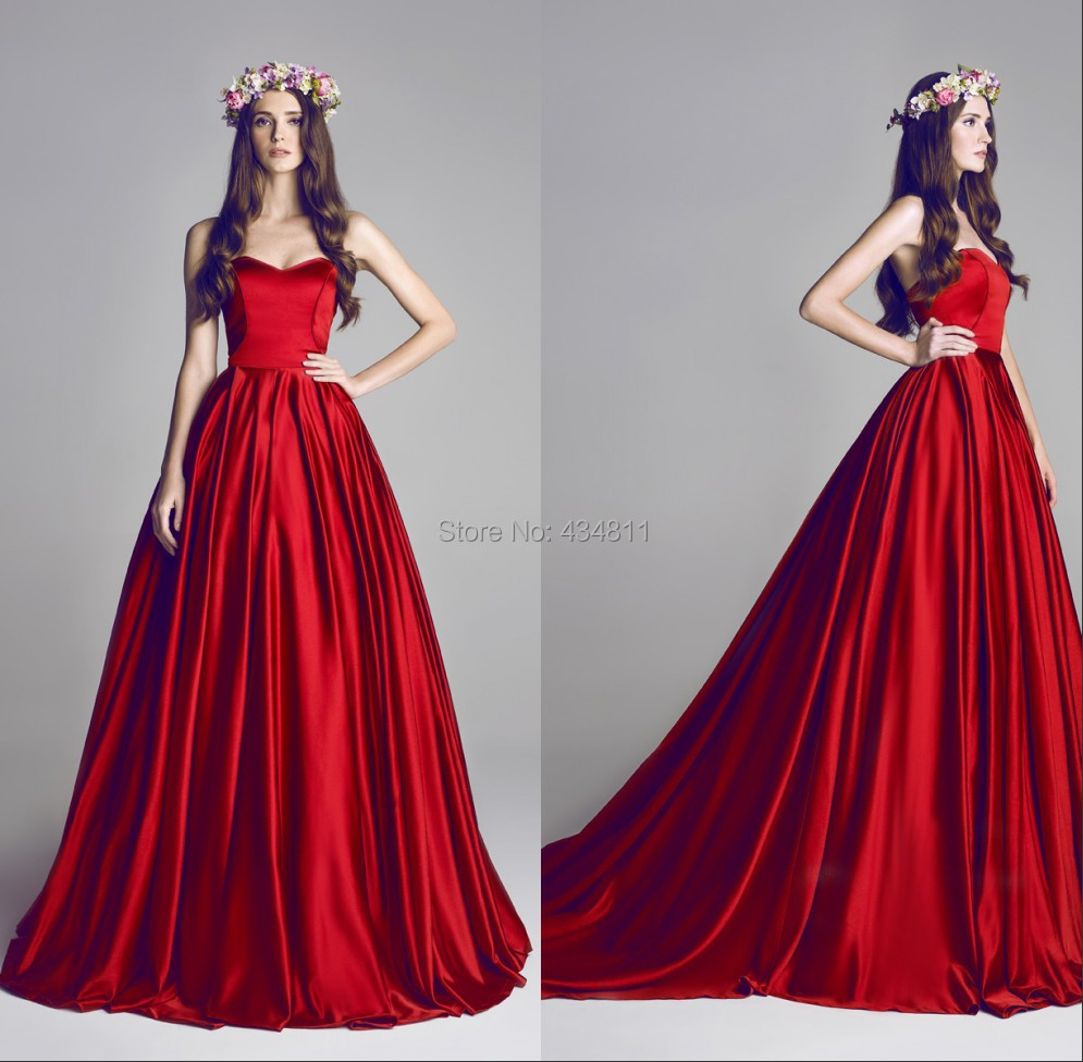 c10b3ba53f8 Gorgeous Red Taffeta Sweetheart Designer Crush Hamda Al Fahim Couture  Dresses Custom Made Party Grown Prom Dresses-in Prom Dresses from Weddings    Events on ...