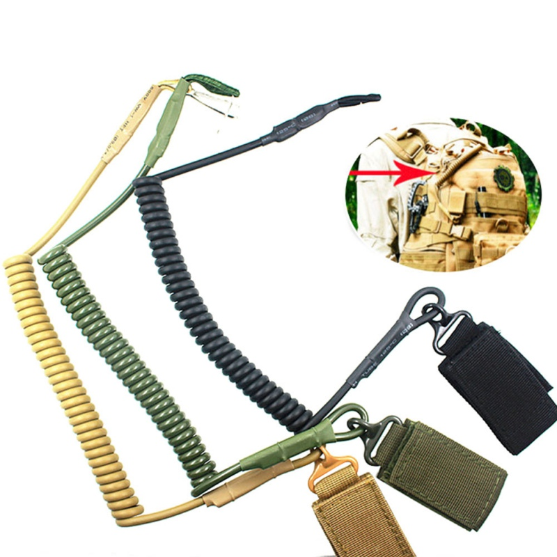 Outdoor Tactical Retractable Plastic Spring Elastic Rope Security Gear Tool For Airsoft Outdoor Hiking Camping Anti-lost Tools