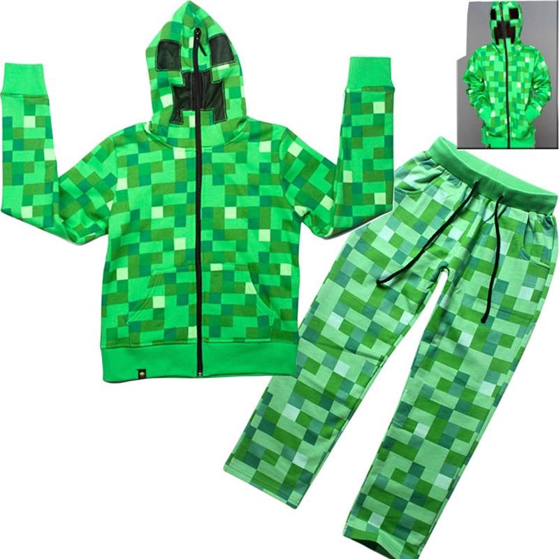 Children's Games Anime Cosplay Halloween Costume Boys Autumn Hoodie Sweatshirt Set Home Sportswear Green Tops + Pants