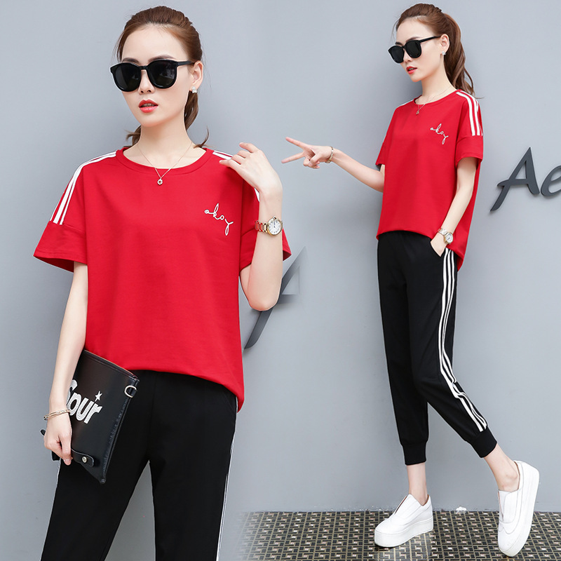 Women Two Piece Set Summer Short-sleeved Stripe Print T Shirt and Trouser Plus Size S-3XL Red White and Black Tracksuit