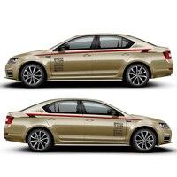 World Datong car styling sport car sticker For Skoda Octavia Mark Levins Exterior Side door Decal Car Vinyl Film