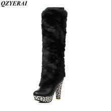 QZYERAI Winter ultra high heel removable print waterproof platform female boot to knee rabbit hair women shoes fashion trend
